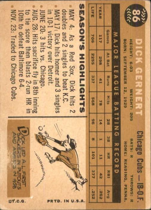 1960 Topps #86 Dick Gernert back image