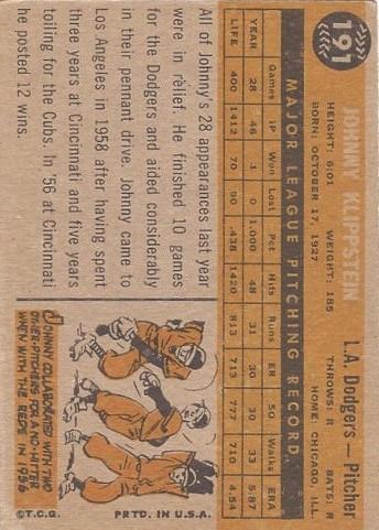 1960 Topps #191 Johnny Klippstein back image