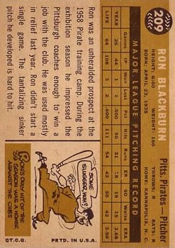 1960 Topps #209 Ron Blackburn back image