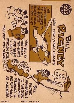 1960 Topps #225 Bill Rigney MG back image