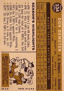 1960 Topps #234 Don Demeter back image