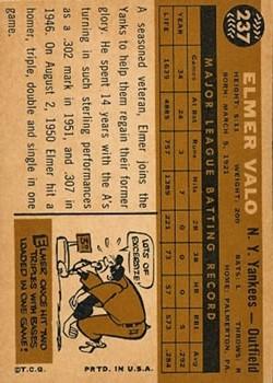 1960 Topps #237 Elmer Valo back image