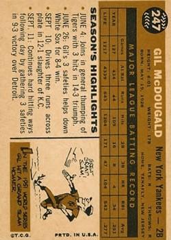 1960 Topps #247 Gil McDougald back image