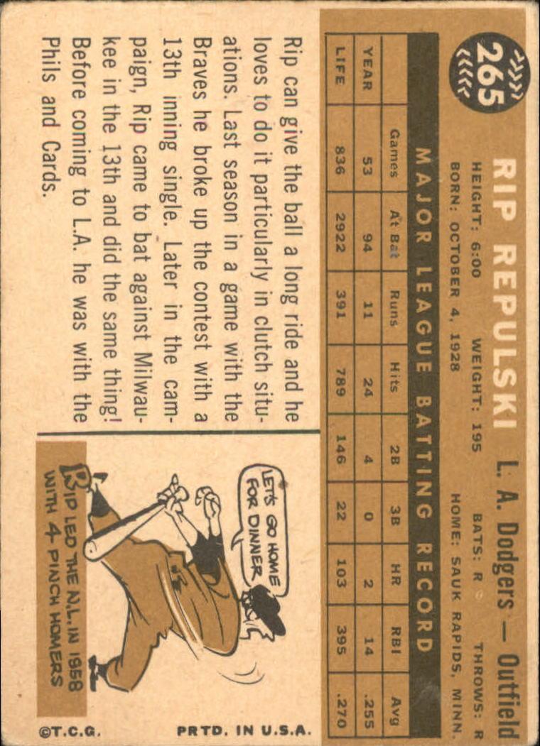 1960 Topps #265 Rip Repulski back image
