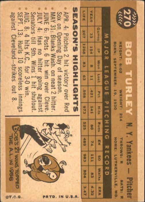 1960 Topps #270 Bob Turley back image