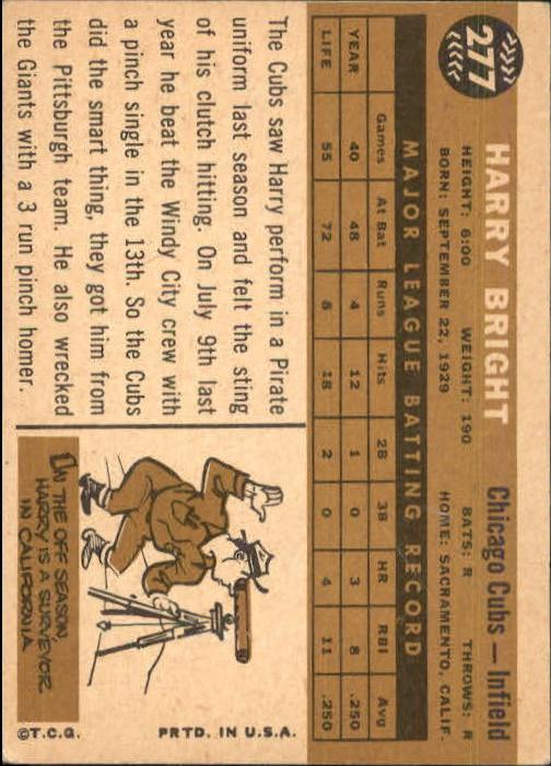 1960 Topps #277 Harry Bright back image