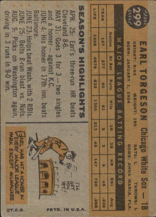 1960 Topps #299 Earl Torgeson back image