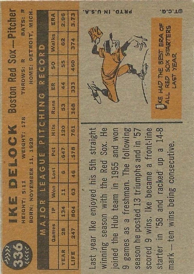 1960 Topps #336 Ike Delock back image