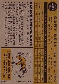 1960 Topps #441 Gary Bell back image