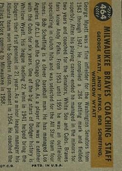 1960 Topps #464 Braves Coaches/Bob Scheffing/Whitlow Wyatt/Andy Pafko/George Myatt back image