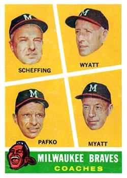 1960 Topps #464 Braves Coaches/Bob Scheffing/Whitlow Wyatt/Andy Pafko/George Myatt