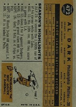 1960 Topps #472 Alvin Dark back image
