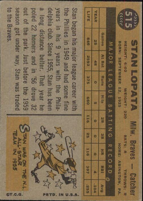 1960 Topps #515 Stan Lopata back image