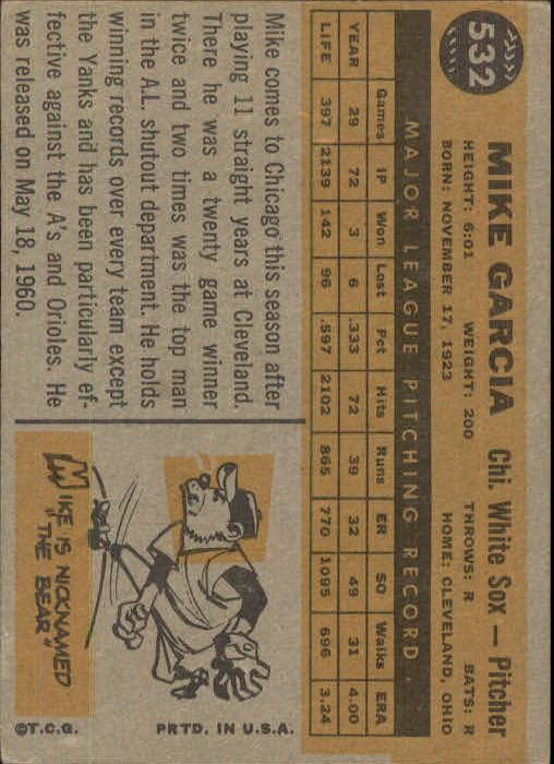 1960 Topps #532 Mike Garcia back image