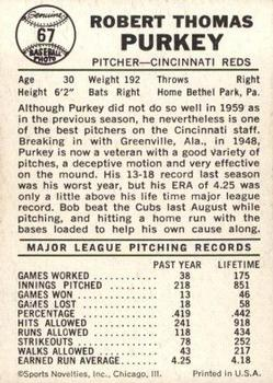1960 Leaf #67 Bob Purkey back image