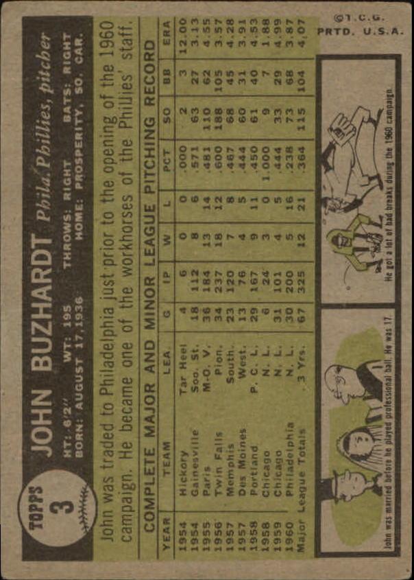 1961 Topps #3 John Buzhardt back image