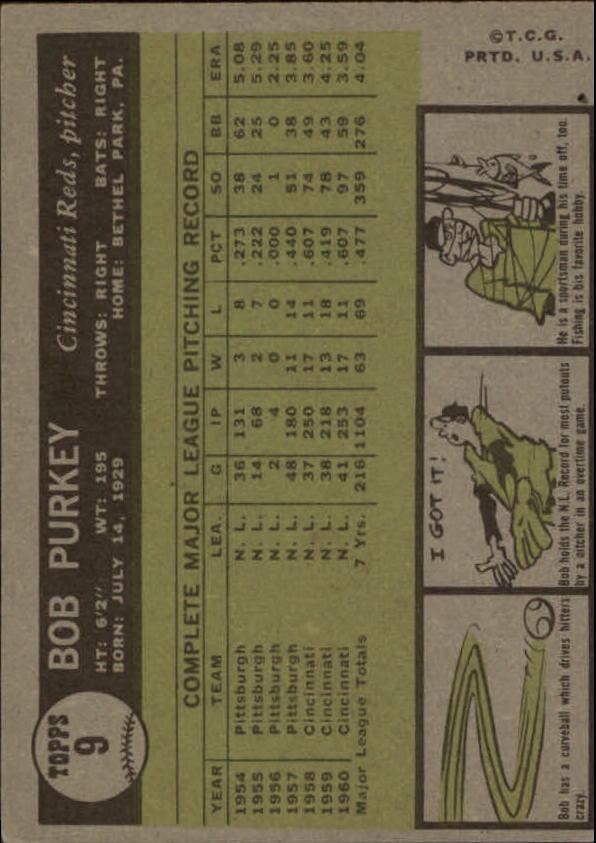 1961 Topps #9 Bob Purkey back image