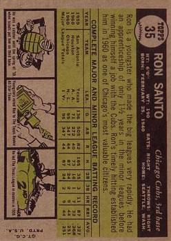 1961 Topps #35 Ron Santo RC back image