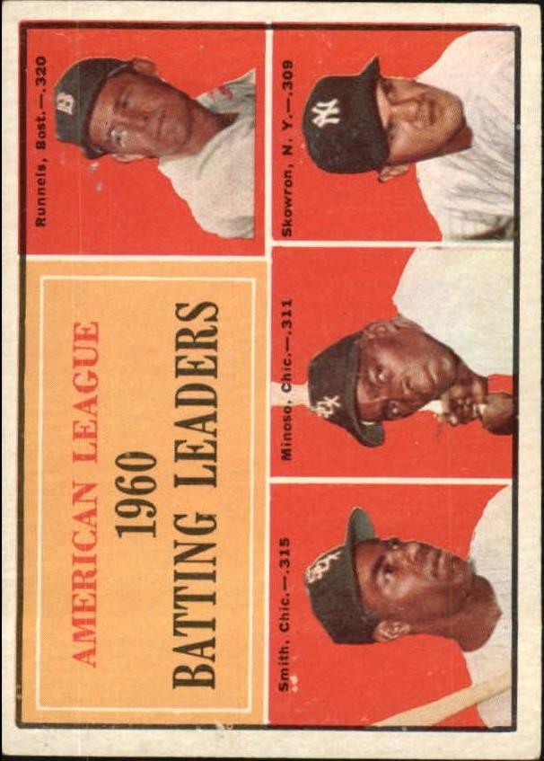 1961 Topps #42 AL Batting Leaders/Pete Runnels/Al Smith/Minnie Minoso/Bill Skowron