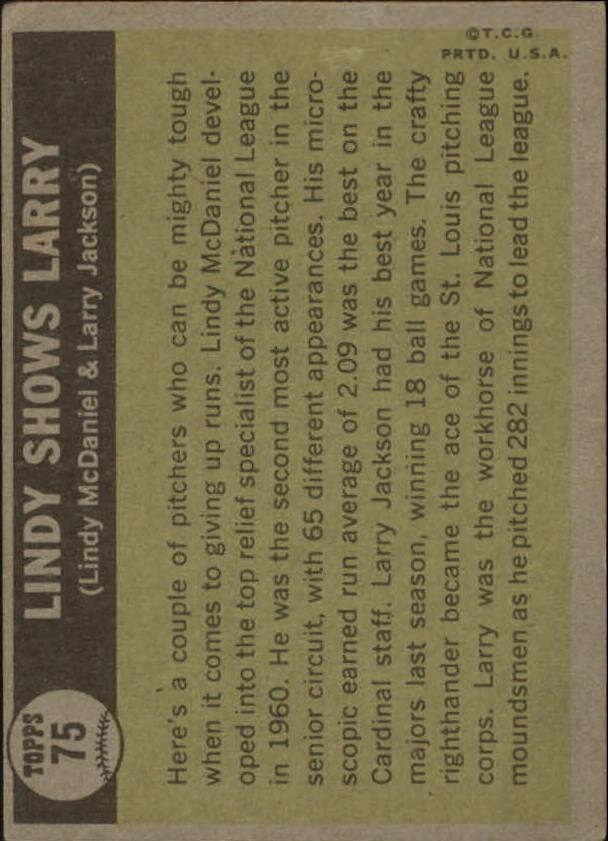 1961 Topps #75 Lindy Shows Larry/Lindy McDaniel/Larry Jackson back image