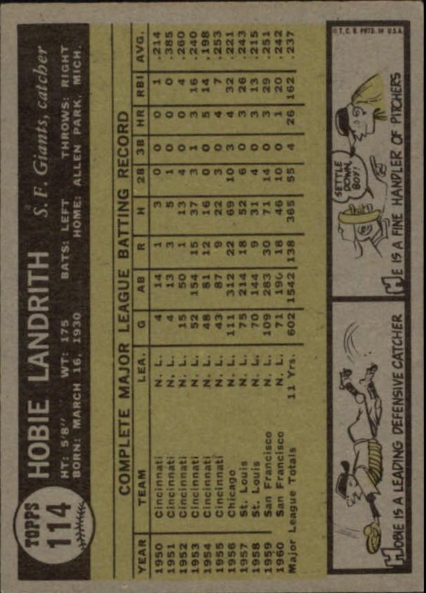 1961 Topps #114 Hobie Landrith back image