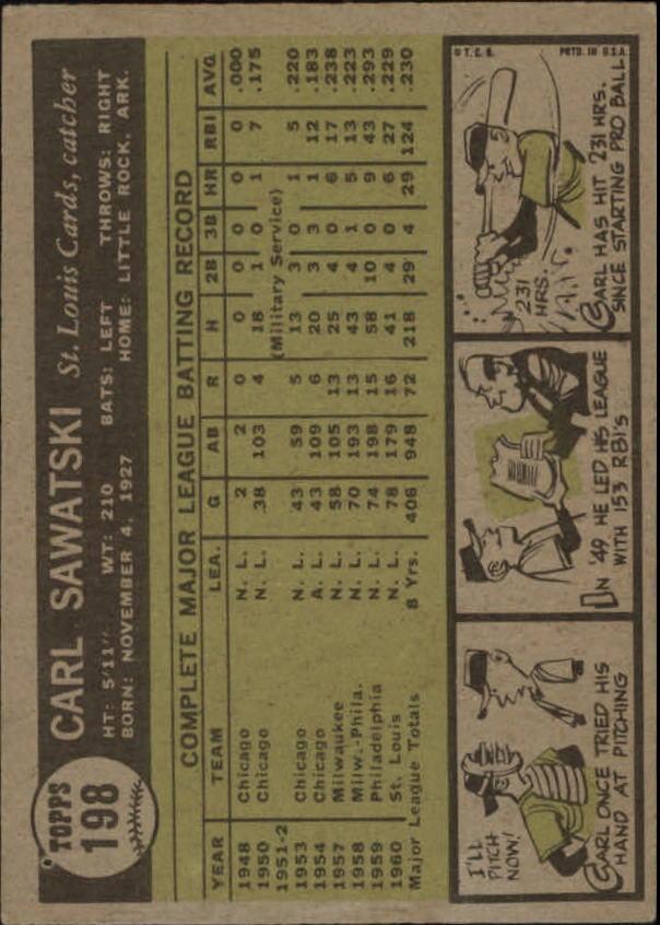 1961 Topps #198 Carl Sawatski back image