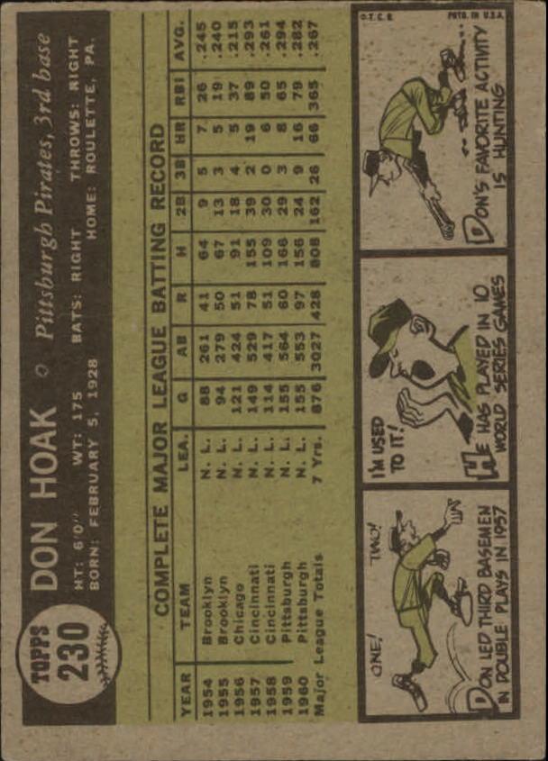 1961 Topps #230 Don Hoak back image