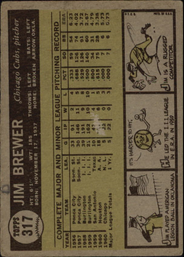 1961 Topps #317 Jim Brewer RC back image