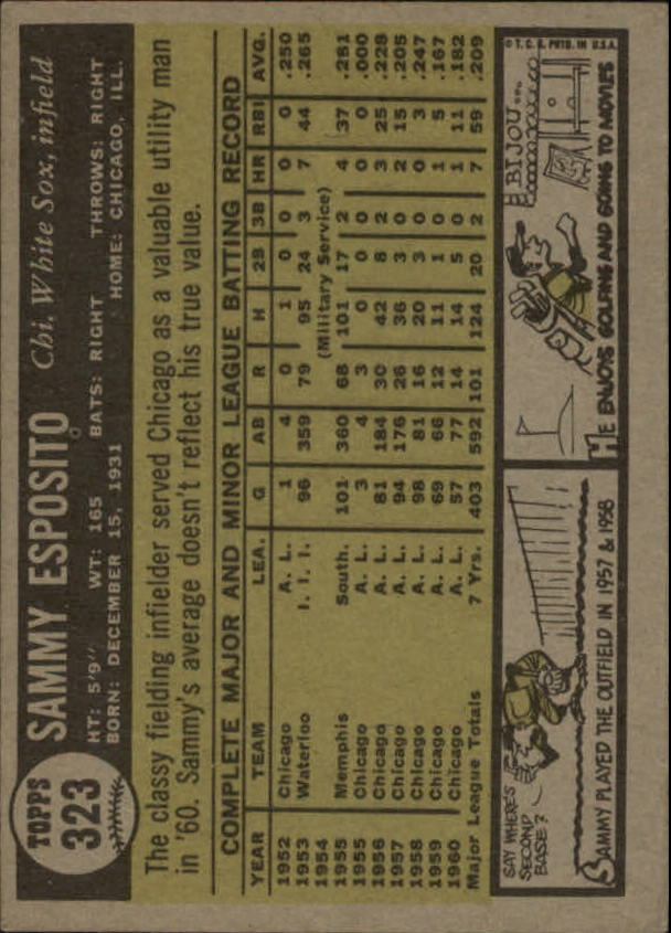 1961 Topps #323 Sammy Esposito back image
