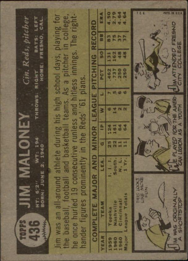 1961 Topps #436 Jim Maloney SP RC back image
