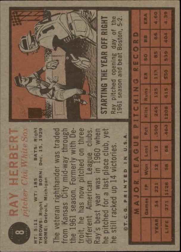 1962 Topps #8 Ray Herbert back image