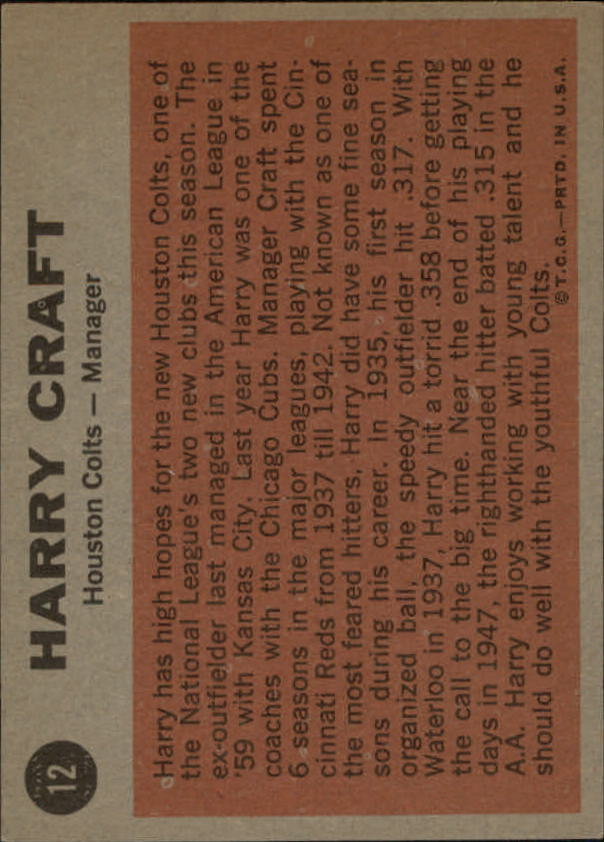 1962 Topps #12 Harry Craft MG back image