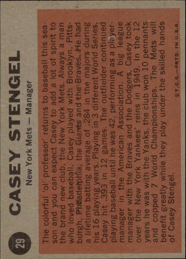 1962 Topps #29 Casey Stengel MG back image