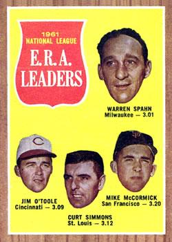 1962 Topps #56 NL ERA Leaders/Warren Spahn/Jim O'Toole/Curt Simmons/Mike McCormick