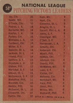 1962 Topps #58 NL Win Leaders/Warren Spahn/Joe Jay/Jim O'Toole back image