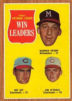 1962 Topps #58 NL Win Leaders/Warren Spahn/Joe Jay/Jim O'Toole