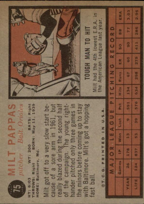 1962 Topps #75 Milt Pappas back image