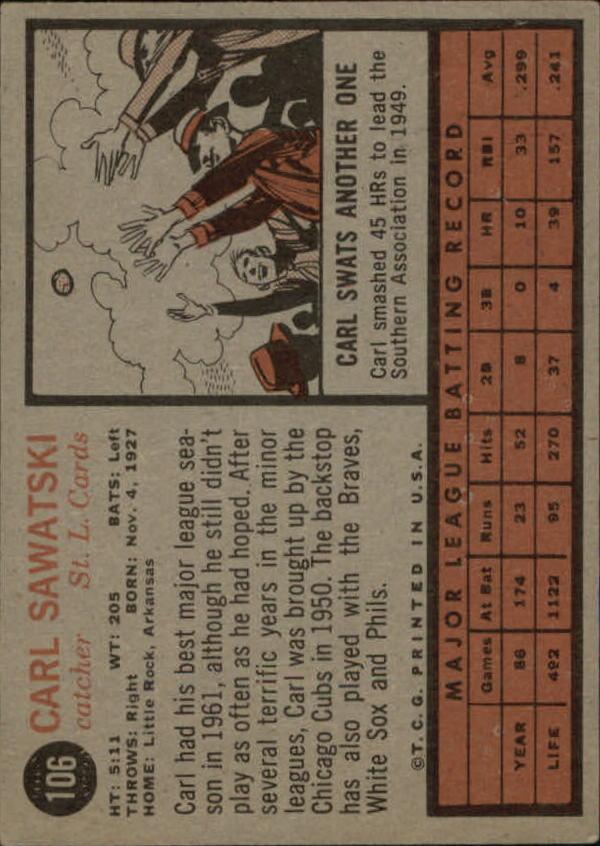 1962 Topps #106 Carl Sawatski back image