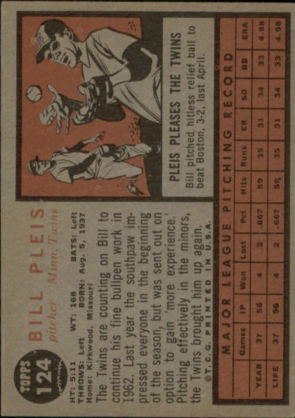 1962 Topps #124 Bill Pleis RC back image