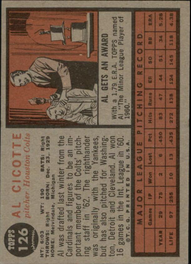 1962 Topps #126 Al Cicotte back image