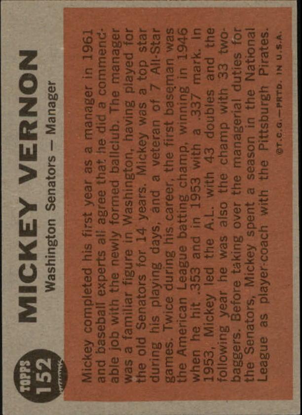 1962 Topps #152 Mickey Vernon MG back image