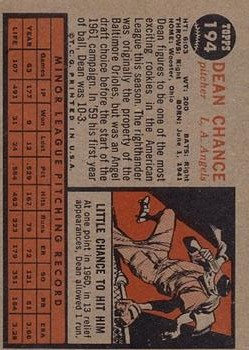 1962 Topps #194 Dean Chance RC back image