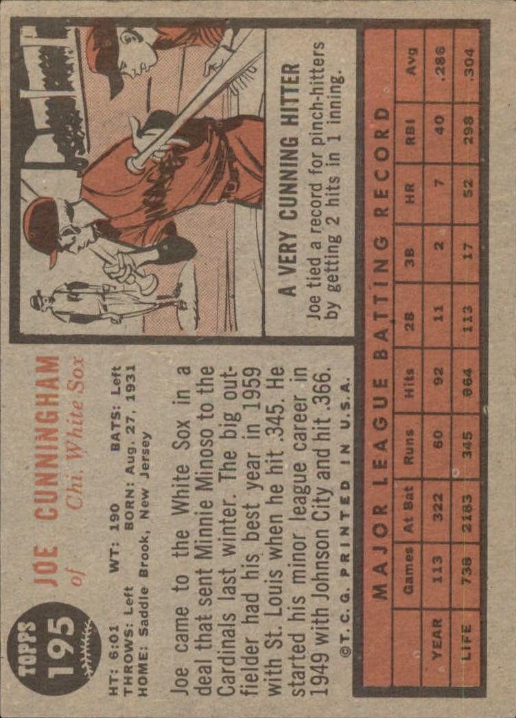 1962 Topps #195A Joe Cunningham/Green Tint back image