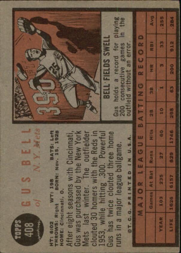 1962 Topps #408 Gus Bell back image