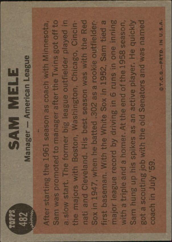 1962 Topps #482 Sam Mele MG back image
