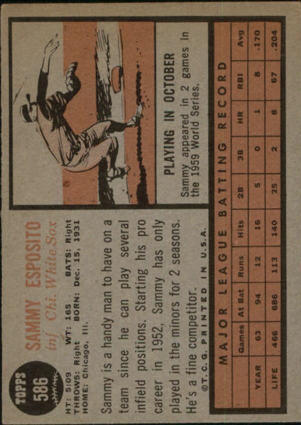 1962 Topps #586 Sammy Esposito SP back image