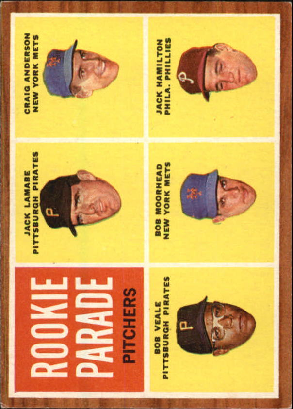 1962 Topps #593 Rookie Parade/Jack Lamabe RC/Craig Anderson RC/Jack Hamilton RC/Bob Moorhead RC/Bob Veale RC SP