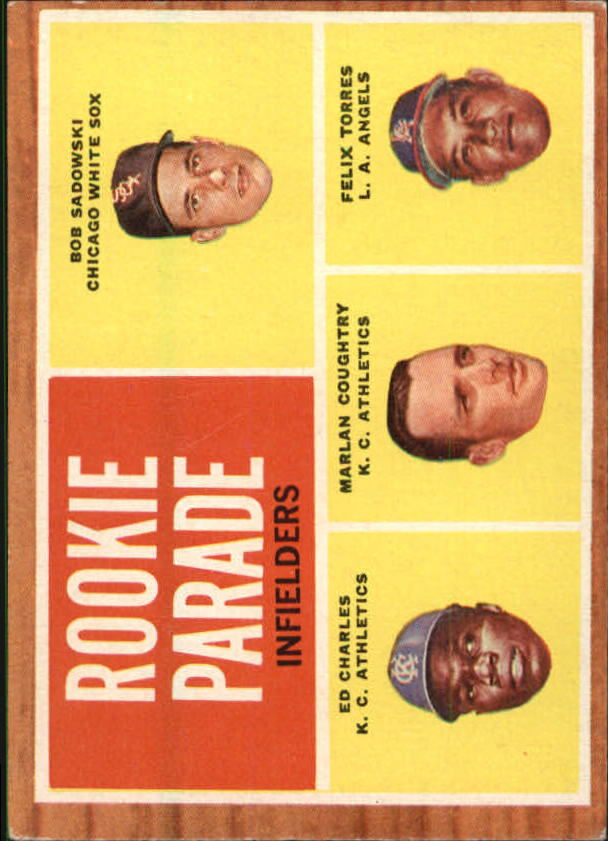 1962 Topps #595 Rookie Parade/Bob Sadowski RC/Felix Torres RC/Marlan Coughtry RC/Ed Charles RC SP