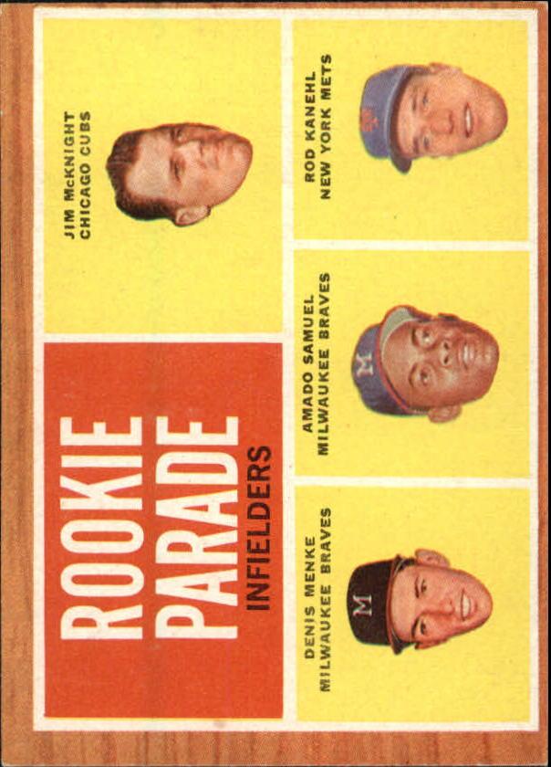 1962 Topps #597 Rookie Parade/Jim McKnight RC/Rod Kanehl RC/Amado Samuel RC/Denis Menke RC SP