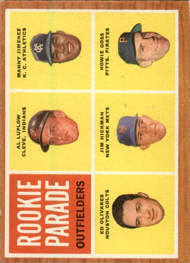 1962 Topps #598 Rookie Parade/Al Luplow RC/Manny Jimenez RC/Howie Goss RC/Jim Hickman RC/Ed Olivares RC SP